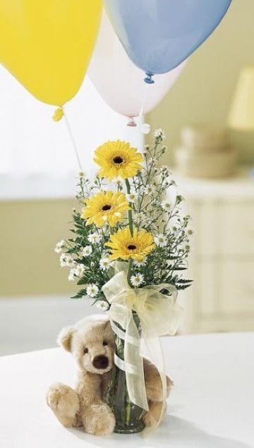 arreglos florales para baby shower varon