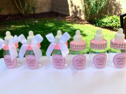 biberones para baby shower niña
