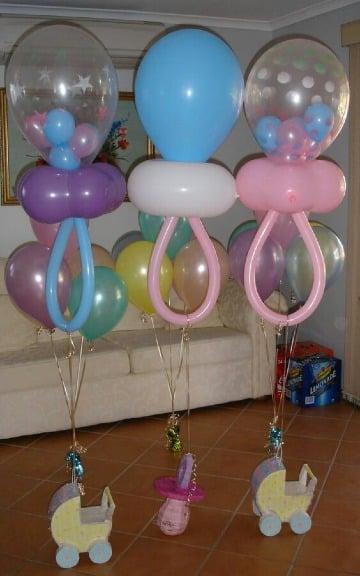 como hacer chupones con globos para baby shower