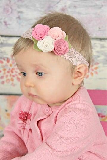 como hacer diademas de flores para bebes