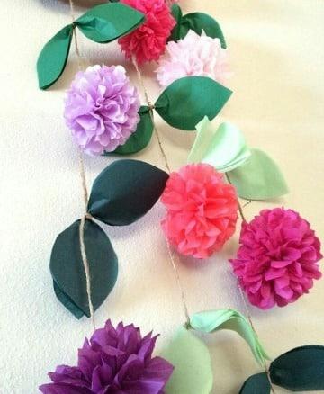 guirnaldas de flores de papel de seda