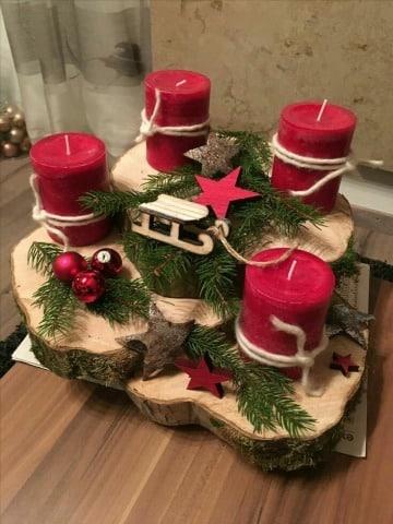 centros de mesa navideños con velas rustico