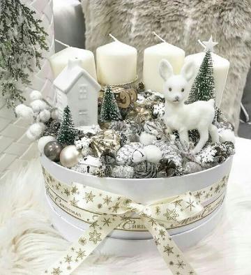 imagenes de centros de mesa navideños con velas