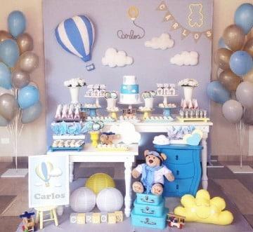 mesa de postres baby shower niño