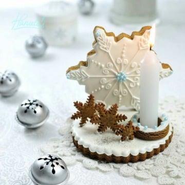 centros de mesa con galletas y velas