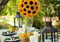 Hermosos centros de mesa con girasoles y 3 elementos