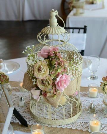 centros de mesa con jaulas para bodas