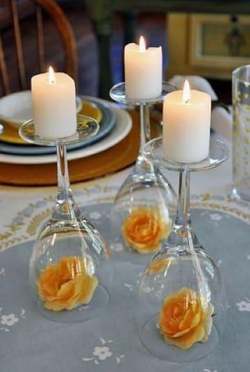 centros de mesa para cena con velas