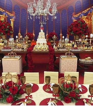 ideas de decoracion de fiesta en rojo y dorado