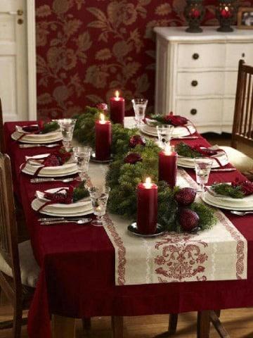 centros de mesa color vino navidad