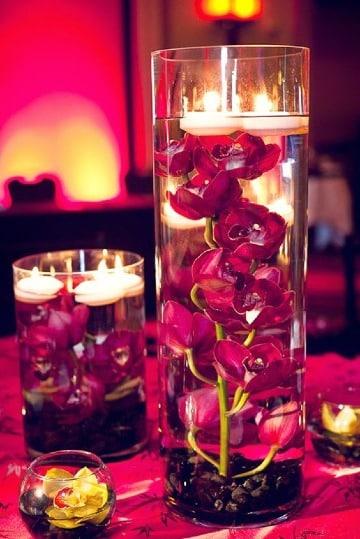 centros de mesa color vino para bodas