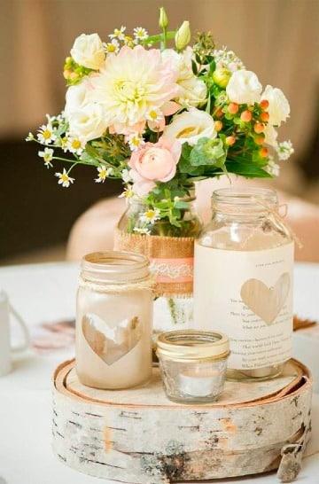 centros de mesa con plantas y velas