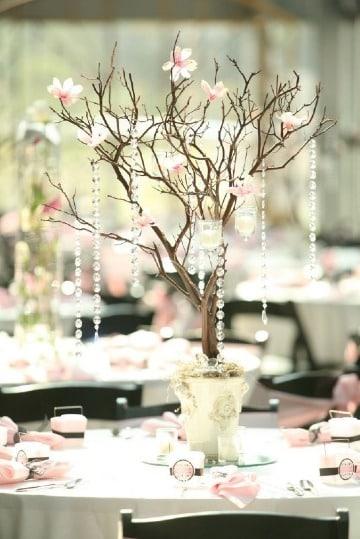 centros de mesa con ramas secas para bodas