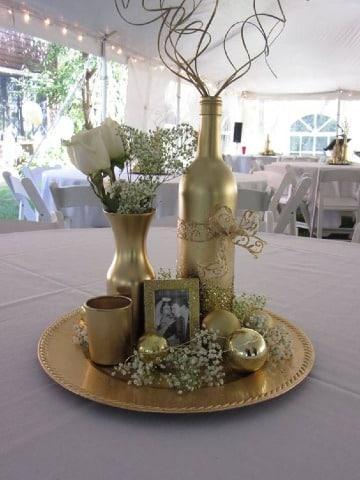 centros de mesa para bodas de oro elegantes