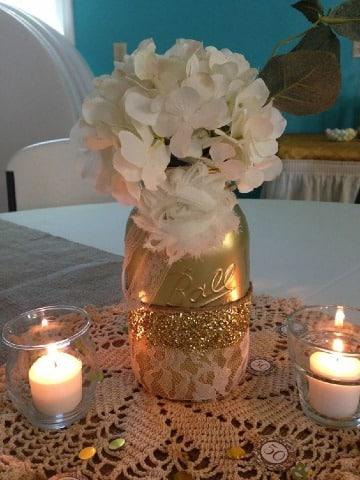 centros de mesa para bodas de oro sencillos