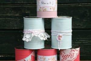 Adornos con latas de leche decoradas 4 diseños
