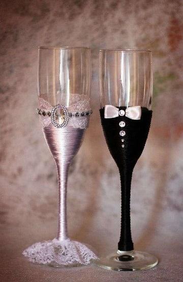 diseños de copas decoradas para novios