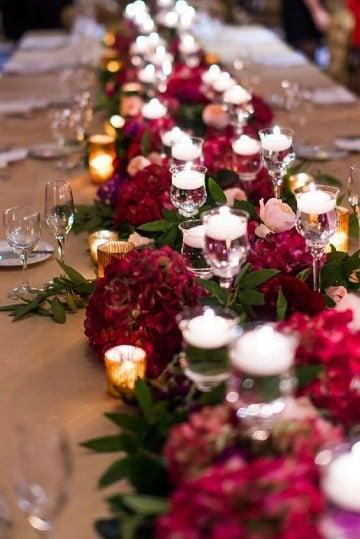 imagenes de centros de mesa color vino