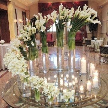 centros de mesa con calas para bodas
