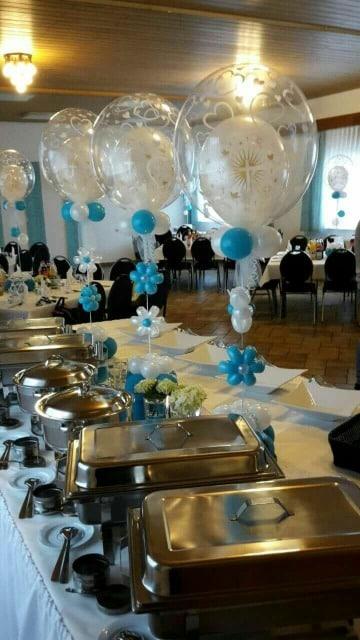 globos de helio para bautizo centro de mesa