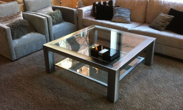 mesas de centro madera y cristal pequeñas