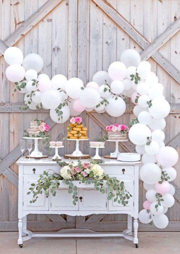 adornos de salon para bautizo con globos