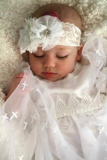 diademas de bautizo para niña con flores de tela