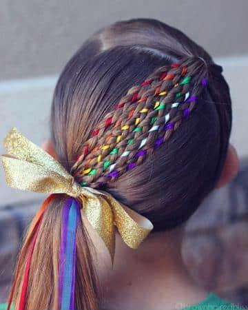 peinados de niñas con cintas tejido