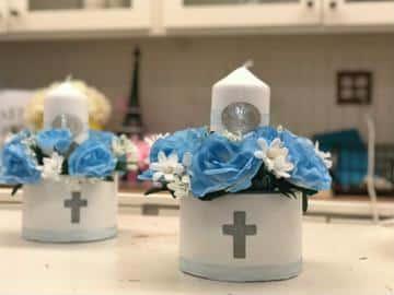 como hacer recuerdos de mesa para bautizo