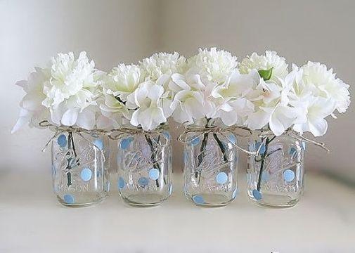 frascos decorados para bautizo con gerber