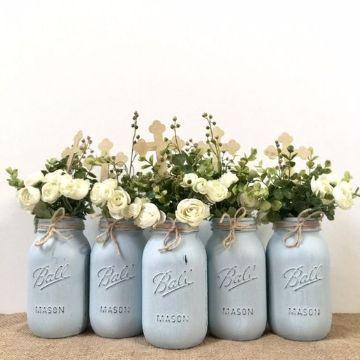 frascos decorados para bautizo de niño