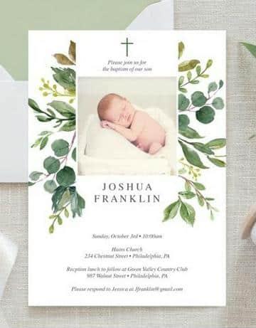 invitaciones de bautizo con foto del bebe