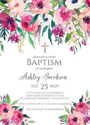 invitaciones de bautizo para imprimir niña