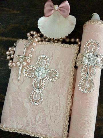 velas para bautizo de niña rosada