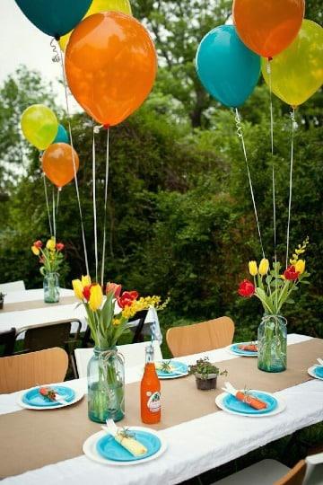 centros de mesa con globos sencillos