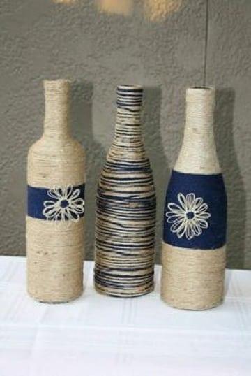 como decorar botellas de vidrio recicladas