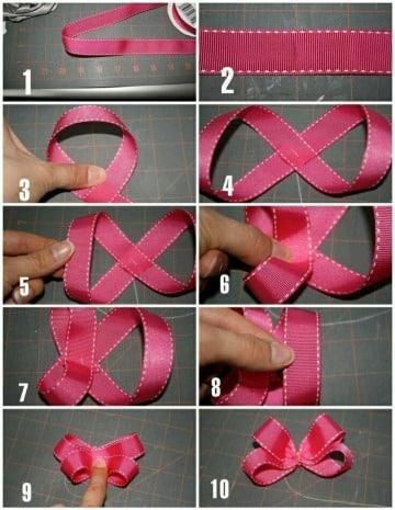 como hacer lazos con cinta para bebe