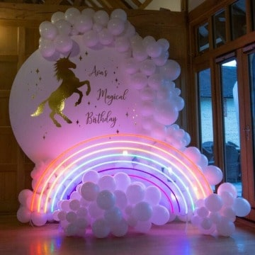 fotos de decoracion de cumpleaños de unicornio