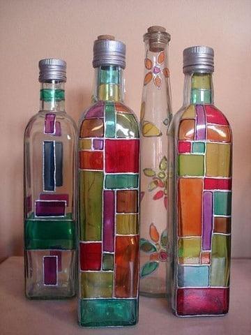 imagenes de como decorar botellas de vidrio
