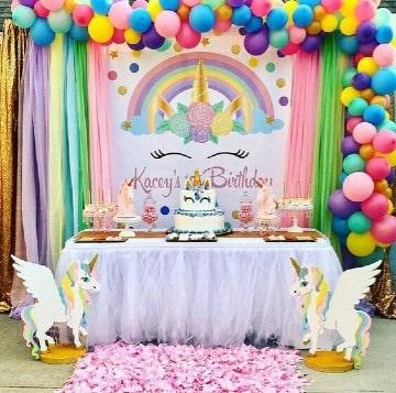 original decoracion de cumpleaños de unicornio