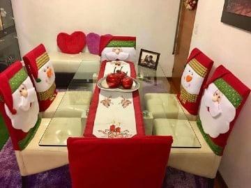 como hacer forros de sillas navideños