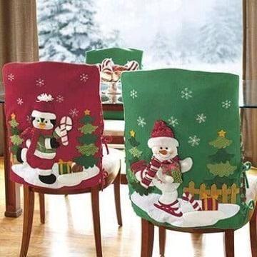 modelos de forros de sillas navideños