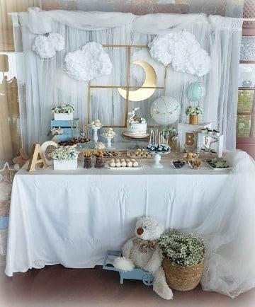 decoracion de mesa de baby shower niño