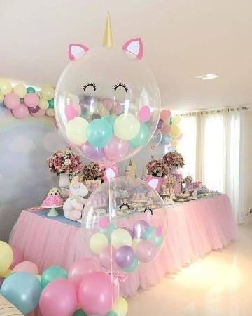 imagenes de decoracion de unicornio con globos