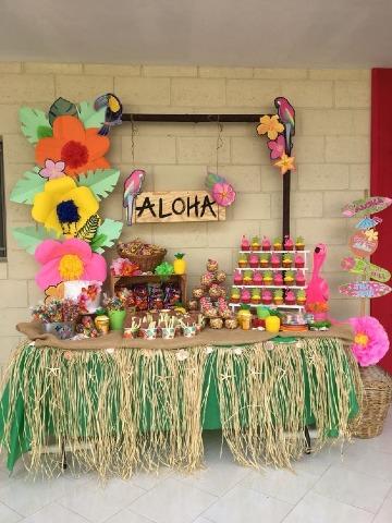 como decorar fiesta hawaiana para niños