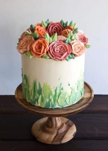 decoracion de tortas de cumpleaños para mujeres con flores