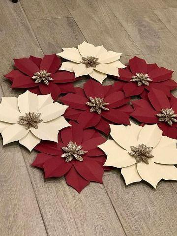 flores de navidad en papel molde