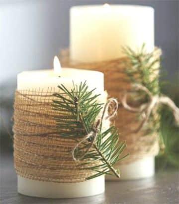 adornos de mesa con velas navideños