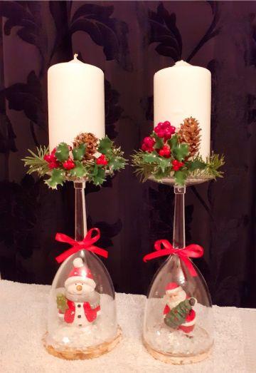 adornos de mesa con velas para navidad
