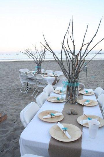 adornos para bodas en la playa con arboles